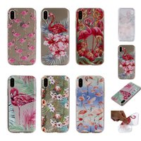 Wholesale Silicone Phone Skin Case - Flamingo Flower Soft TPU Case For Iphone X 8 7 Plus 6 6S SE 5 5S Clear Stylish Bird Cute Cartoon Silicone Floral Cell Phone Back Skin Cover