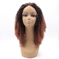 Wholesale 18 inch Full Density Natural Hairline Middle Part Kanekalon Women Kinky Curly Synthetic Lace Front Wig