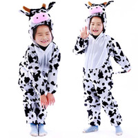 Wholesale Cow Cartoon Costume - Kids White Cow Party Costume Cartoon Animal Cosplay Costume Clothes Performance For Child Christmas Halloween Gift