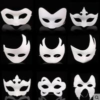 beyaz kağıt maskeli maske toptan satış-Toptan Beyaz Boyasız Yüz Maskesi Düz Boş Sürüm Kağıt Hamuru Maske DIY Masquerade Maske Maske