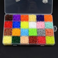 Wholesale Tangram Jigsaws - Wholesale-13000Pcs Box Set Hama Beads 2.6MM Perler Beads 24 Colors DIY Creative Puzzles Tangram Jigsaw Board Baby Kid Educational Toys