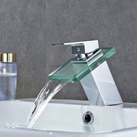 Wholesale Glass Sink Tops - Top Bathroom Hotel Square Mixer Waterfall Faucet Outlet Glass Tap Exquisite Brass Low lead Thicked Water Tap for Basin Sink Free shipping