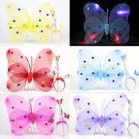 Wholesale Holloween Props - Girls LED Butterfly cosplay props 3pcs sets led Wings hairband Fairy stick Kids Holloween Christmas Festivals Costume Ball Angel Party