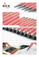 Wholesale Ballpoint Pen Gift Wedding - Newest diamond Stylus Crystal Ballpoint pen screen touch pen Beautiful Design Pens Filled With Crystal for Wedding Gift and Office School