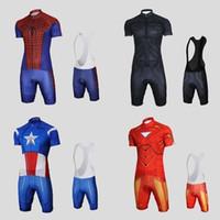Wholesale Super Gel Uv Dryer - 2015 Summer Super Hero Cycling Wear Short Sleeve Cycling Jerseys Gel Pad Cycling Bib Shorts Sets Superman Spider man Batman