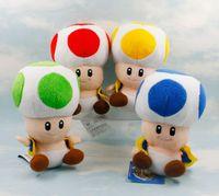 Wholesale Green Mario Mushroom - Free shipping super Mario17cm blue red green yellow 4 color mushroom people plush doll Super Mario plush toy Retail