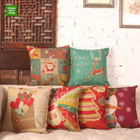 Wholesale Vintage Styling Chairs - Vintage Fashion Christmas Style Pattern Printed Cushion Cover High Quality Polyester Home Decorative Pillow Case Chair Sofa Cushion Cover