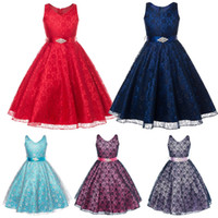 Wholesale Girls Lace Mesh Dress - Samgami Baby baby girls princess party dresses with sash sleeveless dress princess mesh lace dress girls birthday dress for baby girl