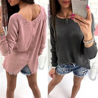 Wholesale Bow Pink Flat Back - New 2017 Autumn Casual Elegance Sweater Long Sleeeve Slim Back Zippers Women Pullovers Tops O-Neck Solid Colour Sweater DHL MLT170929