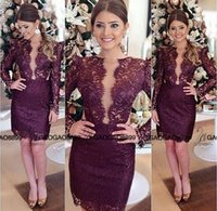 Wholesale Knee Lenght Royal Blue Dress - 2016 Elegant Purple Short cheap Prom Dress O Neck Long Sleeves Above Knee lenght Beautiful Lace Cocktail Party Dresses