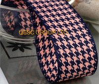 Wholesale Pink 38mm Ribbon - NEW 38MM PINK DARK BLUE Houndstooth hemp cotton ribbon Plaid ribbon for fascinator hair accessory dress hat bag decoration belt