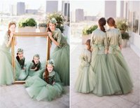 Incredibile Lovely Green 1/2 maniche lunghe principessa Flower Girl Abiti per la cerimonia nuziale Tulle Kids Party Pageant Gown Junior abiti da damigella d'onore