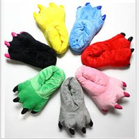 Wholesale Rubber Paws - Soft Warm Paw Funny Indoor Floor Slippers Women Men Children Kids Shoes Animal Christmas Monster Dinosaur Home House Shoes
