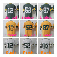 Wholesale Aaron Rodgers Jersey Xxl - Men's 12 Aaron Rodgers Jersey 52 Clay Matthews 87 Jordy Nelson 100% Stitched Rush Limited Jerseys