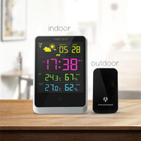 Wholesale Weather Station Clock Led - Digital Weather Forecast Station Wireless Sensors for Time  Indoor Outdoor Temperature Humidity Time Date Display Alarm Forecast Table Clock