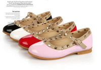Wholesale Toddlers Pink Dress Shoe - Wholesale-Free Shipping! Fashion Brand Girls Baby Toddler Patent Leather Rivet Flats Dress Shoes Peep Toe Sandals Black White Pink Red