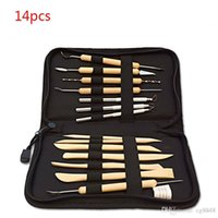 Wholesale Pottery Tools Sale - Free Shipping Hot Sale 14Pcs Wooden Metal Pottery Sculpture Molding Carving Professional Clay Tool Kit