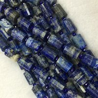 "Wholesale Lapis Cross - Wholesale Natural Genuine Blue Lapis Lazuli Faceted Hand Cut Tube Loose Beads Barrel Column Beads 15"" 04268"