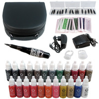Wholesale Eyebrow Cosmetic Tattoo Ink - Solong Tattoo Eyebrow Kit Permanent Makeup Cosmetic Tattooing Supply Machine Power Needles Tip with Pigment Makeup Ink EK706