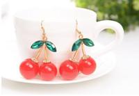 Wholesale Chandeliers Fruit - Frozen Cherry Dangle earrings Lovely Red Fruit Ear Stud Crystal Rhinestone Fashion Charm Earrings