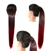 Wholesale Ponytail Extensions Ribbon - Sara Straight Ombre Color Ponytail Magic Stick Wrap-Around Ribbon Ponytails Hair Extension 55cm,22inch Synthetic Hair Pony Tail