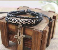 Wholesale Woven Jade Charm Bracelet - Retro Woven Leather Bracelet for Men Alloy Cross Pendant Bracelet Handmade Black Woven Charm Leather Bracelet