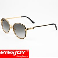 Wholesale Green Modeling - Sunglasses for Men Women Luxury Fashion Brand Designer Unique Modeling Metal Frame Green UV400 Lens With Glasses Box