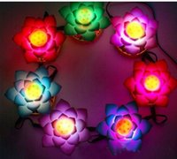 Wholesale Led Power Cans - 7 Pcs with Power Supply Can Change Battery Work Buddha's Light Flower Fancy Colorful Changing LED Lotus Flower Romantic Wedding