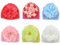 Wholesale Waffle Crochet Beanie Girls - Newborn Baby Crochet Knitted Hats Beanies Toddler Flower Floral Waffle Beanie Handmade Caps For Children Girls