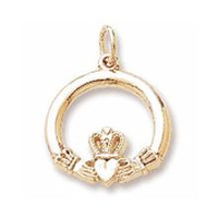 Wholesale Wholesale Claddagh - Romantic rhodium or 18k gold plated Claddagh Love Loyalty And Friendship pendant Charms jewelry fit for necklace & keychain