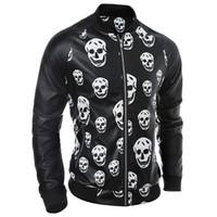 mens kafatası ceketleri toptan satış-Güz-Sıcak Moda Erkekler Kafatasları Deri Ceket Su Geçirmez Streetwear Deri Paltolar Mens İnsan İskelet Deri Süet Avrupa S1905