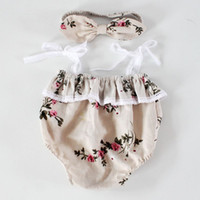 Wholesale Lace Ruffles Girls Clothing - Floral girls clothes Girls lace ruffles romper headband 2piece set ,Summer romper onesies diaper covers bloomers in Vintage Painting INS