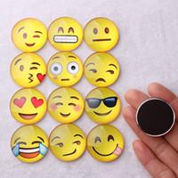 магниты улыбки оптовых-Магнит Emoji стеклянный купол круглая улыбка лица выражения холодильник Магнит сообщение держатель холодильник стикер бесплатная DHL на складе WX-C37