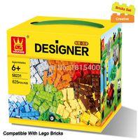 пластиковые блоки для детских игрушек оптовых-625 шт./лот дети DIY игрушки образовательные строительные блоки кирпичи части мальчиков раннего обучения пластиковые сборки игрушки