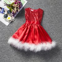 Wholesale Warm Dresses For Girls - Wholesale Children christmas dress 2016 latest design baby girl X'mas holidays costumes dresses feather sequined red warm dress for girls