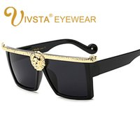 Wholesale Big White Head - IVSTA 2017 Steampunk Sunglasses Men Medusa Gold 3D Lion Head Brand Designer Sun Glasses Vintage Glasses Hipster Gothic Big Frame