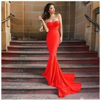 Wholesale crystal fresh water - Wholesale Fresh Trendy Red Mermaid Long Prom Dress 2016 Off The Shoulder Sexy Elegant Prom Formal Dress Pageant Gowns Custom Vestido Longo