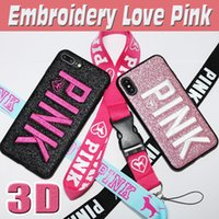Wholesale 3d Bling Iphone Case - 3D Embroidery Love Pink Design Case Glitter Bling Slim Fashion Soft TPU Shockproof Protection VS Letter Cover For iPhone X 8 Plus 7 6 6S