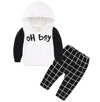 2017 Ragazzi Bambino Abbigliamento Baby Set OH ragazzo Bambini Felpe con cappuccio Top Pantaloni Plaid 2Pcs Set Primavera Autunno Cotone Infant Boutique Abbigliamento Outfits