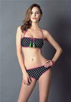 Wholesale Tied Up Bikini - Summer Womens Bikinis Set Dot Push Up Sexy Swimsuit for Girl Halter Bikinis Low Waist Brand Swimwear String Ties Bating Suit Swim wholesale