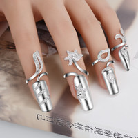 Wholesale Ring Jackets - Adjustable Authentic 925 Sterling Silver Fashion Fingernail Nail jacket Rings With Clear CZ Jewelry for Women Girl jewelry Gift JZ125