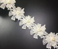 Wholesale Lace Trim For Sewing - 15Yard Flower Rhinestone Pearl Cotton Lace Fabric Trim Ribbon For Sewing DIY Bridal wedding Doll Cap Hair clip