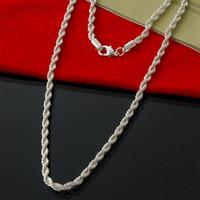 collar de plata de 18 pulgadas al por mayor-Venta al por mayor y al por menor 925 Sterling Silver 4MM 18 pulgadas Rope Chain Necklace Fashion Silver Necklace Mens Jewelry