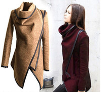 Wholesale Europe Winter Coat - Slim temperament woolen coats Europe and America irregular windbreaker Women's Outerwear long wool winter coats 888