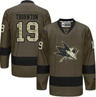 Wholesale Wholesale Sharks Jersey - New Hockey Jerseys Sharks #19 Thornton Jersey Camo Olive Color Salute Jersey size 48-56 Mix Order All Teams Stitched