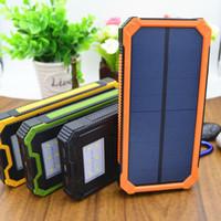 güç bankası usb güneş paneli toptan satış-LED Işık Güneş Enerjisi Bankası Çift USB Güç Bankası 20000 mAh Su Geçirmez PowerBank Bateria Harici Taşınabilir Güneş Paneli
