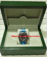 reloj de lujo b al por mayor-Regalo de navidad suizo Relojes de lujo Caja original Certificado Automático reloj para hombre Inoxidable GMT II SERIE ALEATORIA Negro CERÁMICA 116710 SANT B
