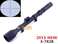 Wholesale Rifle Scopes Sale - 2016 New Hot Sale sighting Telescope 3-7X28 Hunting Scope With Mounts Lens Caps For Rifle Airsoft+Free Shipping