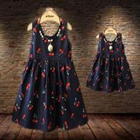 robe de maman fille achat en gros de-Gros-Bébé Filles Robes 2016 Été Correspondant Mère Fille Robe De Mode Imprimer Coton Famille Regarder Zipper Maman Et Fille Robe