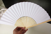 Wholesale Religious Materials - Chinese Paper Folding Fan Handheld Fan white color Children's Painting painted fan Kindergarten creative diy handmade material paper fans